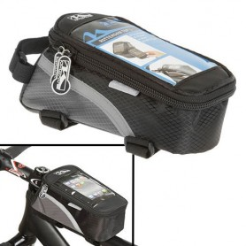 M-WAVE Rotterdam Top L top tube bag for Smartphone, black-grey