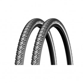 2x Michelin bicycle tyre Protek Cross reflex wire 37-622 black