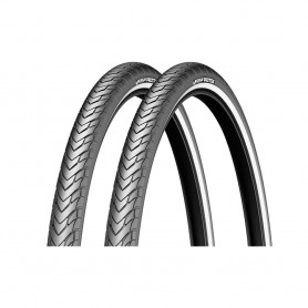 2x Michelin tire Protek 42-622 28 inch wire black reflecting