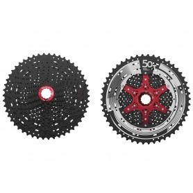 SunRace, Kassette, CSMZ90 WA5, 12-fach, Wide Ratio, 11-50 Zähne, Originalverpackt, ca. 586g, Farbe: schwarz, Spiderfarbe: rot f