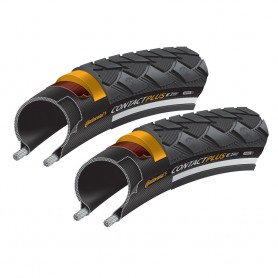 2x Continental 42-584 Contact Plus, E-50 Draht, Reflex schwarz