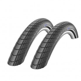 2x Schwalbe Big Apple bicycle tyre Race/puncture protection 20, 26, 28 inch reflective strips Balloon