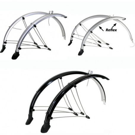 Bike Mudguard set front rear 20 inch - 28 inch black or silver