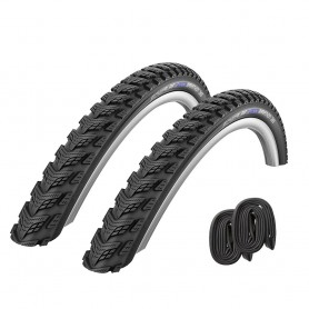 "2x Schwalbe bicycle tyre Marathon GT 365 incl. Tube 26"" 28"" black"