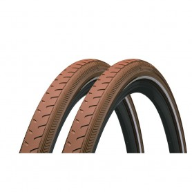 2x Continental Classic RIDE bicycle tyre 42-622 E-25 wired reflective brown