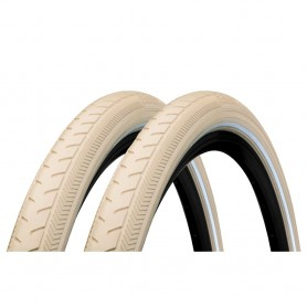 2x Continental Classic RIDE bicycle tyre 42-622 E-25 wired reflective creme