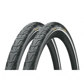 2x Continental RIDE City bicycle tyre 47-559 E-25 wired reflective black