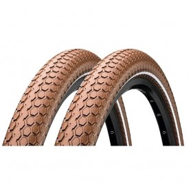 2x Continental RIDE Cruiser bicycle tyre 50-559 E-25 wired reflective brown