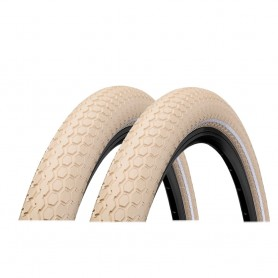2x Continental RIDE Cruiser bicycle tyre 55-559 E-25 wired reflective creme