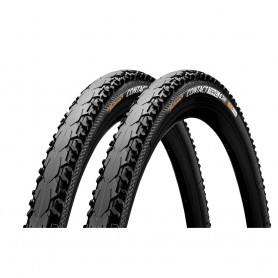 2x Continental CONTACT Travel Duraskin bicycle tyre 42-622 E-25 wired reflective black