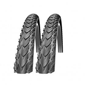 2x Schwalbe bicycle tyre Marathon Plus Tour wire reflex 42-622 black skin