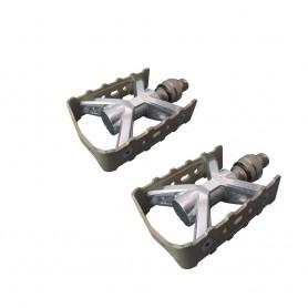 MKS 'Esprit Ezy Superior' Sportpedal, Konuslager, rutschfester Käfig, silber Stecksystem mit Dreh-Verriegelung
