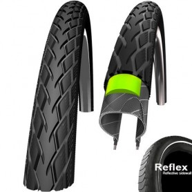 Schwalbe Marathon GreenGuard E-25 bicycle tyre 28-622 wired reflective strips black