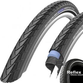 Schwalbe Marathon PLUS bicycle tyre 28-622 wired reflective strips black