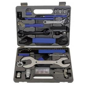 M-WAVE, Fahrrad-Werkzeugkoffer, 43 teilig, Flickzeug, 2 Flach- + 2 Kreuzschraubenzieher, Zahnkranzabzieher, kleiner Schraubenzie