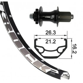 Rodi Black Rock Rear wheel 26x1.9 559-21 32 hole Disc black XLC 6-hole