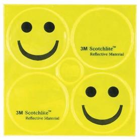 Reflexaufkleber SMILE, gelb, 3M-Reflex, Messingschlager, 120990