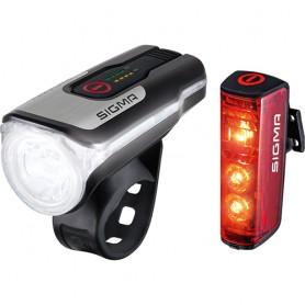 Sigma Licht Set Aura 80 USB & Blaze Sigma 80 Lux black red with certif~