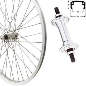 "Roland Front Wheel 26"" silver box type-alu, aluminium hub"