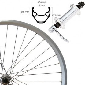 "Roland Front Wheel 26"" silver SSP ZAC 2000,alu hub,quick release"