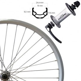 """Roland Front Wheel 26"""" silver SSP ZAC19, Deore, quick release"""