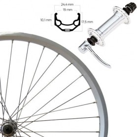 "Roland Front Wheel 26"" silver SSP ZAC19, RM40, quick release"