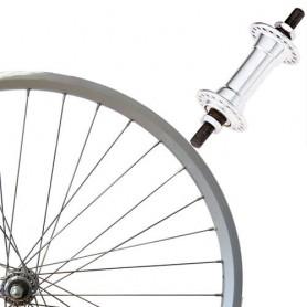 "Roland Front Wheel 28"" silver box type-alu, aluminium hub"