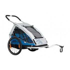 "XLC Fahrrad-Kinder-Anhänger Mod. 2018 20"" Duo8teen blau/silber Zweisitzer"