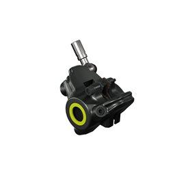 Magura Bremszange Flatmount, schwarz, für MT4/MT8 SL, Blende neon gelb u. silber, drehbarer Leitungsanschluss, mit Bremsbeläg