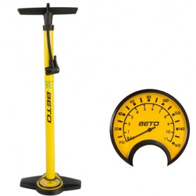 Bike Floor Pump Steel + Gauge to 11 bar, yellow-black