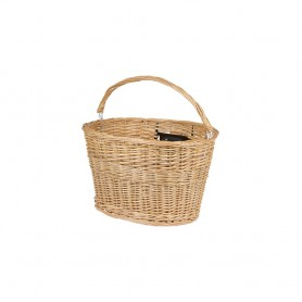 Bicycle wicker basket natural with QR holder for stem shaft brown