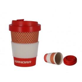 Coffee-to-GO-Winora rot, weiß, bambus, 250ml