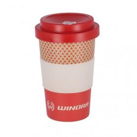 Coffee-to-GO-WINORA Becher rot/weiß, bambus, 400ml