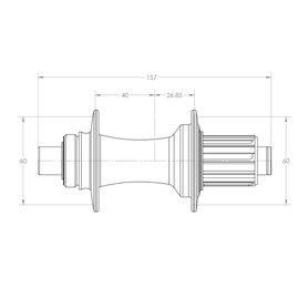 White Industries C157 Disc SUPER BOOST Nabe HR 157x12mm 32L Shim HG poli. silber