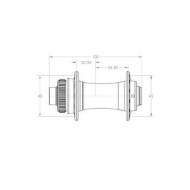 White Industries CLD Disc Nabe VR 100x9mm QR/100x15mm 24 L. schwarz