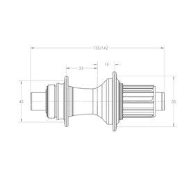 White Industries CLD Disc Nabe HR 142x12mm 28 L. Shimano HG schwarz