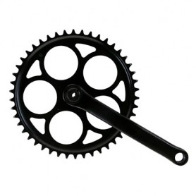 Bike Crankset, 46 teeth steel black 170 mm