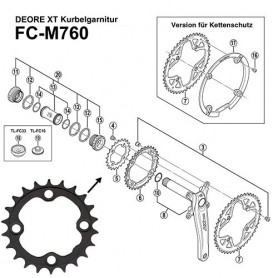 Shimano Teile Chainring 22 teeth, 4 arm Deore XT, FC-M760