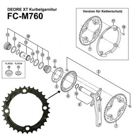 Shimano Teile Chainring 32 teeth, 4 arm Deore XT, FC-M760 black