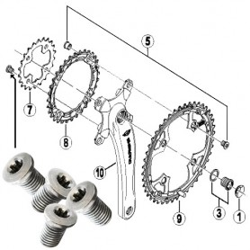 Shimano Teile Chainring inside bolts 8 x, 8,5 / 4 pcs.