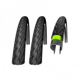 2x Schwalbe Fahrrad Reifen Marathon GreenGuard - 37-622 - 28 x 1.40 - Draht, Reflex schwarz-skin