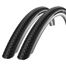 2x Schwalbe bicycle tyre Century wired reflective strips 50-622 black