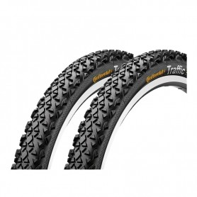 """2x Continental Traffic Fahrrad Reifen   26""""   26 x 1.9   50-559   Draht, Reflex schwarz"""