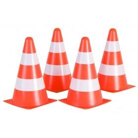 Pylonen 4er Set orange/weiß. 22,5 cm hoch. 13 cm breit