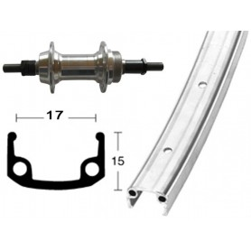 Rear wheel 27x1.1/4 630-17 36 hole Alu-box-type rim silver cogset sprocket rigid