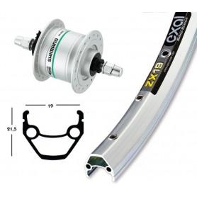 Exal ZX 19 Front wheel 28x1.75 622-19 36 hole silver Hub dynamo DHC3000 rigid
