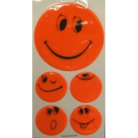Reflective sticker set Smily self-adhesive orange, 1x Ø 5cm, 4x Ø 2,5cm