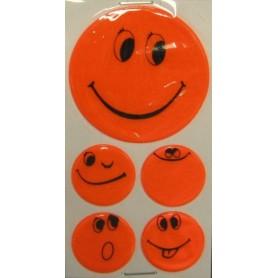 Reflexaufkleber-Set Smily selbstklebend orange, 1x Ø 5cm, 4x Ø 2,5cm