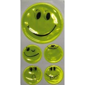Reflexaufkleber-Set Smily selbstklebend gelb, 1 x Ø 5cm, 4 x Ø 2,5cm