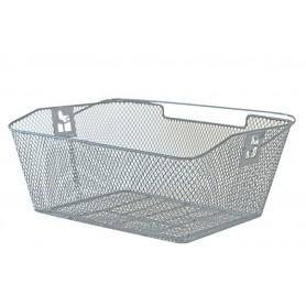 Rear wheel basket PVC 39x30x17cm close meshed chamfered silver